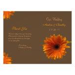 Orange Gerbera-Gänseblümchen-Hochzeits-Programm