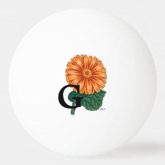 Orange Gerberas-personalisiertes Blumenmonogramm Tischtennis Ball
