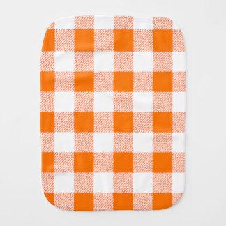 Orange Gingham-Karo-Muster Baby Spucktuch