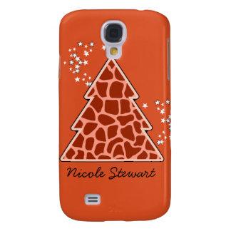Orange Giraffe Weihnachtsbaum Galaxy S4 Hülle