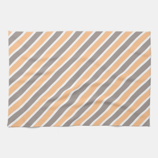 Orange graue diagonale Streifen Geschirrtuch