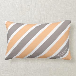 Orange graue diagonale Streifen mit individuellem Lendenkissen