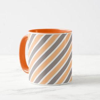 Orange graue diagonale Streifen Tasse