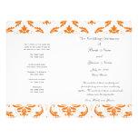 Orange graues Vintages Damast-Hochzeits-Programm Flyerdesign