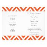 Orange graues Zickzack modernes Hochzeits-Programm Flyer
