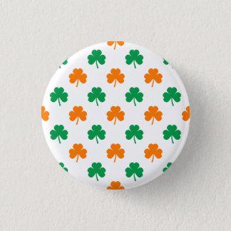 Orange grüne Herz-Förmige Kleeblätter auf Weiß Runder Button 3,2 Cm