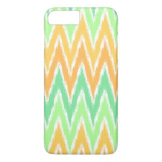 Orange grüner Ikat Zickzack Zickzack Stripes iPhone 8 Plus/7 Plus Hülle