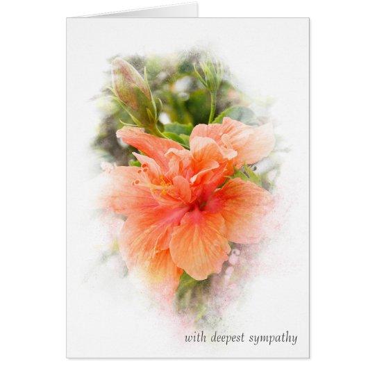 orange Hibiskus für Beileid Grußkarte