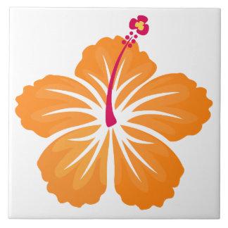 Orange Hibiskus Große Quadratische Fliese