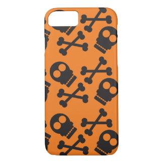 Orange Hintergrund Halloween der Totenköpfe mit iPhone 7 Hülle