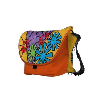 Orange hippie heureuse lumineuse de sac de flower besaces