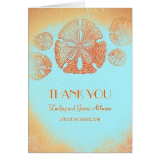 Orange Hochzeit des Sand-Dollars danken Ihnen Mitteilungskarte