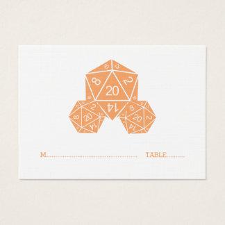 Orange Hochzeits-Platzkarte der Würfel-D20 Visitenkarte