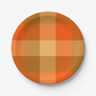 Orange karierte Papierplatte Pappteller