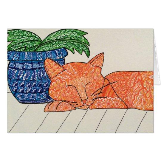 Orange Katzen-Gruß-Karte Grußkarte