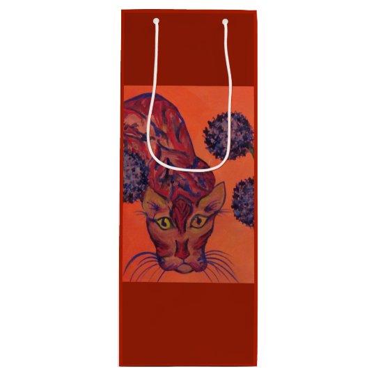 orange Katzengeschenktasche Geschenktüte Für Weinflaschen