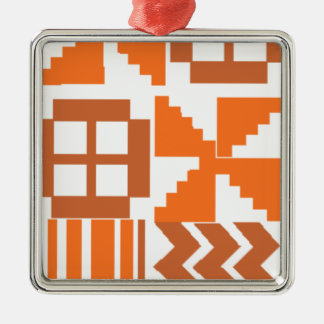 Orange Khanga Motiv Silbernes Ornament