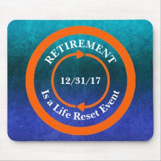 Orange Leben-Zurückstellen-Ikonen-Ruhestands-Datum Mauspads