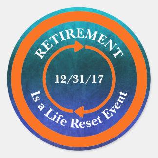 Orange Leben-Zurückstellen-Ikonen-Ruhestands-Datum Runder Aufkleber