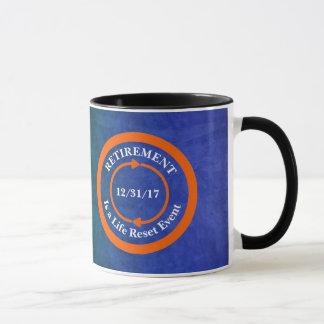 Orange Leben-Zurückstellen-Ikonen-Ruhestands-Datum Tasse