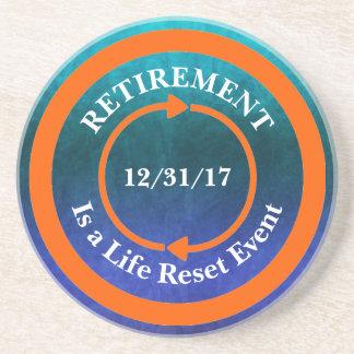 Orange Leben-Zurückstellen-Ikonen-Ruhestands-Datum Untersetzer