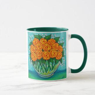 Orange Leidenschafts-Rosen-Kaffee-Tasse Tasse