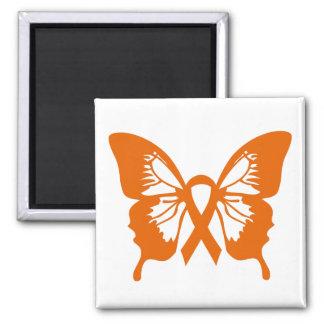 Orange Leukämie-Krebs-Schmetterlingsquadratmagnet Quadratischer Magnet
