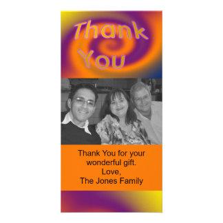 orange Lila danken Ihnen Fotokartenvorlage