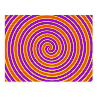 Orange lila gelbe schwindlige Spirale Postkarte