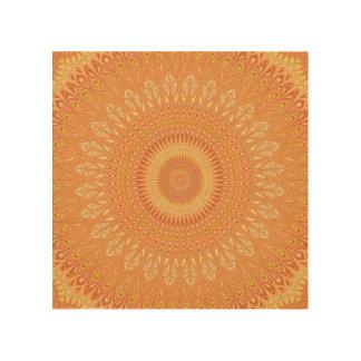 Orange Mandala Holzleinwand