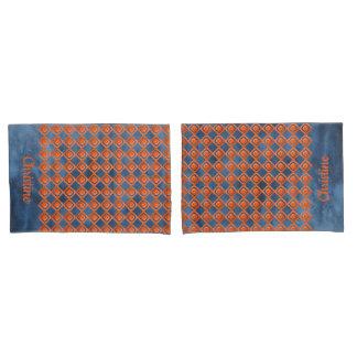 Orange Marine-Blau-Aquarell-Muster Kissen Bezug