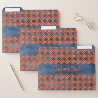 Orange Marine-Blau-Aquarell-Muster Papiermappe
