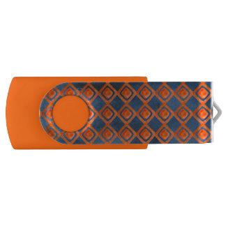 Orange Marine-Blau-Aquarell-Muster USB Stick