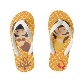 Orange Meerjungfrau-Skalen Kinderbadesandalen