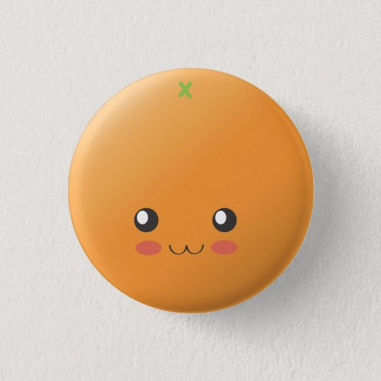 Orange - Orange Runder Button 2,5 Cm