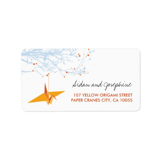 Orange Papier streckt Origami Adressetikett