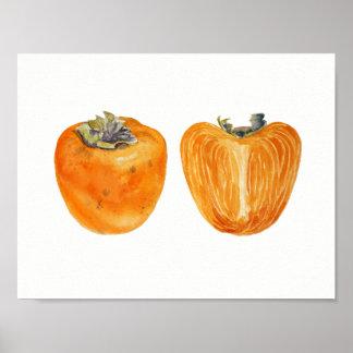 Orange Persimonefrucht-Aquarellmalerei Poster