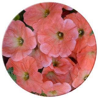 Orange Petunie-Blumendruck-Porzellanplatte Porzellanteller