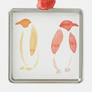 Orange Pinguine Silbernes Ornament