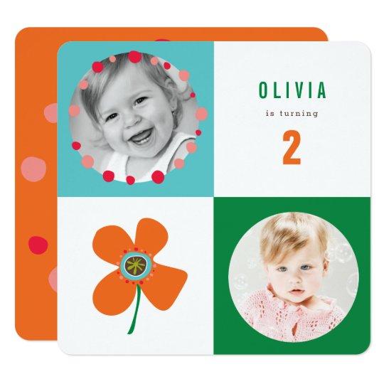 Orange Quadratische 13,3 Cm Einladungskarte