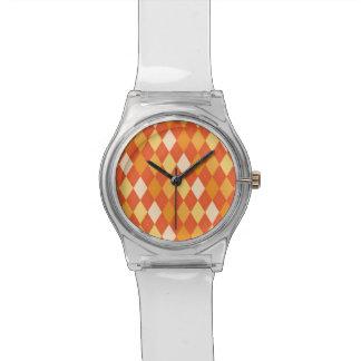Orange Rautenmuster Uhr