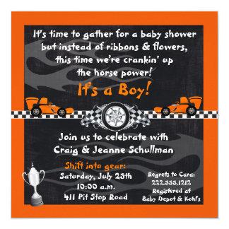 Orange Rennwagen-Babyparty-Einladungen Karte