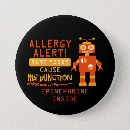 Orange Roboter-Nahrungsmittelallergie-Alarm-Knopf Runder Button 7,6 Cm