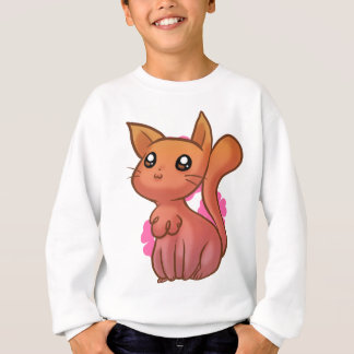 Orange rosa niedliche Cartoon-Katze Sweatshirt