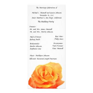 Orange Rosen-Hochzeits-Programm Bedruckte Werbekarte