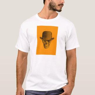 Orange Schädel-Derby-Hut T-Shirt
