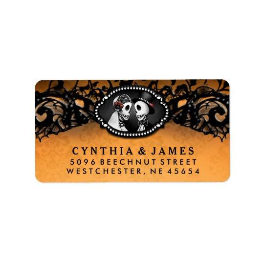 Orange schwarze elegante Hochzeits-Skelette Adressetikett