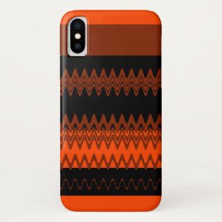 Orange schwarze Zickzack Zickzack-Streifen iPhone X Hülle