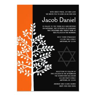 Orange schwarzer Baum von Leben-Bar Mitzvah 12,7 X 17,8 Cm Einladungskarte