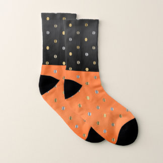 Orange, Schwarzes mit Silber und Goldpunkte Socken